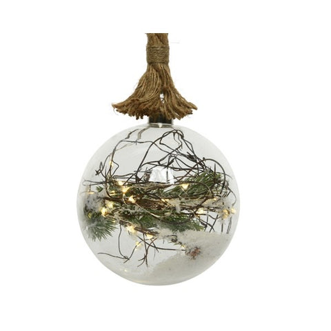 Medium Pine Glass Ball on Rope with LED Lights