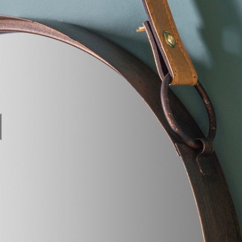 Copper Bronze Round Mirror on Leather Strap