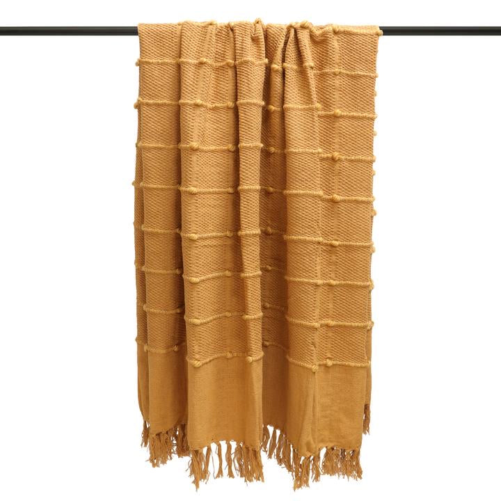Ochre Mustard Cotton Throw