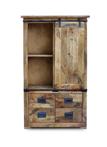 Mango Wood Larder Cabinet with Sliding Door
