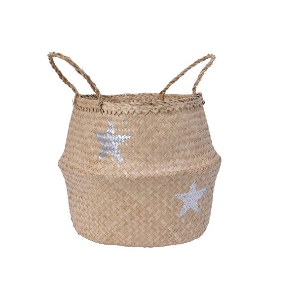 Seagrass Belly Basket with Silver Stars