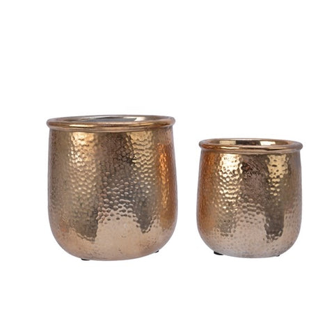 Gold Stoneware Plant Pot with Hammered Look