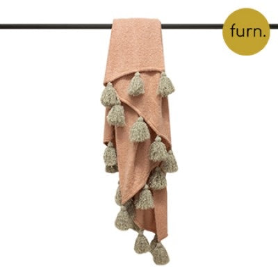 Blush Pink and Natural Large Tassel Throw