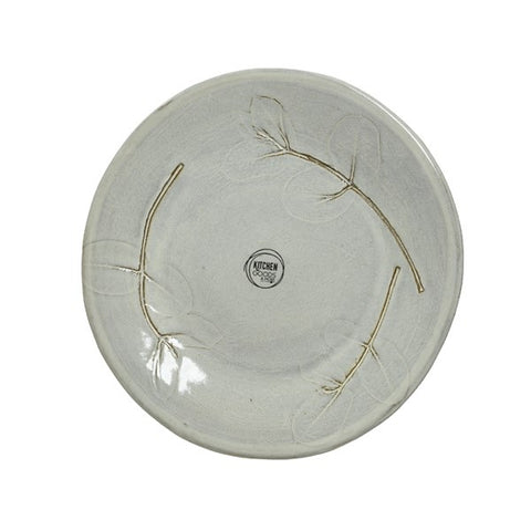 Grey Dinner Plate with Eucalyptus Press