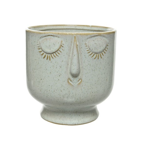 Eyes Shut Stoneware Plant Pot