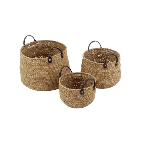 Seagrass Baskets with Faux Leather Handles