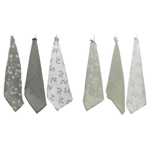 Set of 3 Grey Cotton Tea Towels