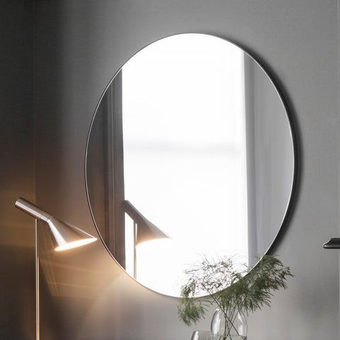 Large Round Wall Mirror with Black Edge