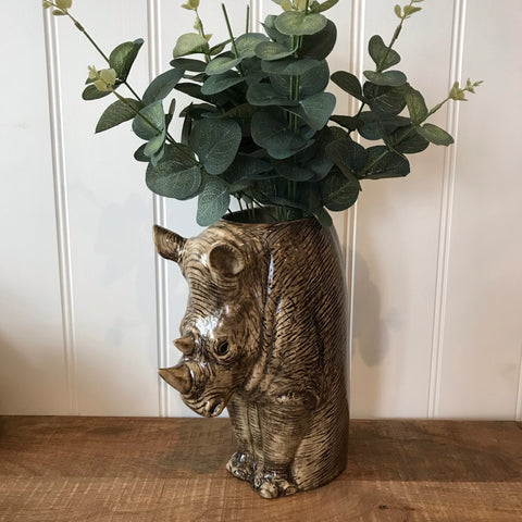 Ceramic Rhino Tall Flower Vase