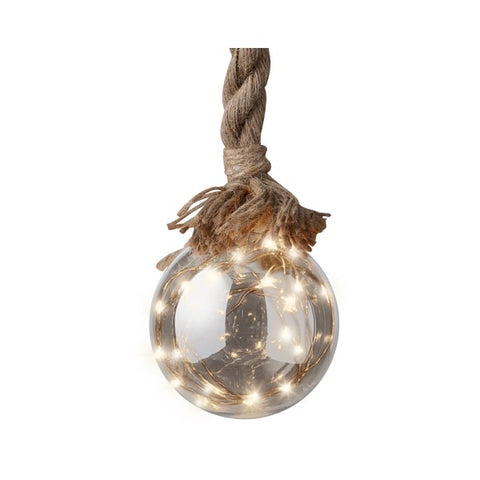 Medium Grey Ball on Rope with LED Lights