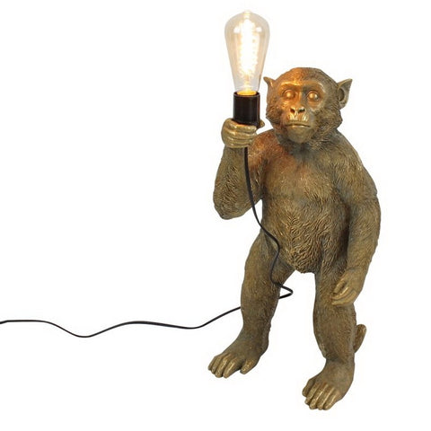George the Standing Monkey Lamp in Gold