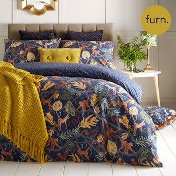 Monkey Jungle Midnight Blue Print Cotton Bedding