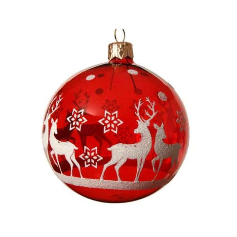 Red Glass Bauble with Tree Scene