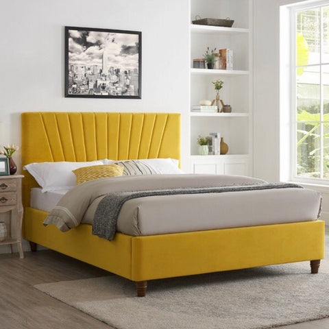 Yellow Scallop Velvet Bed With Wooden Legs