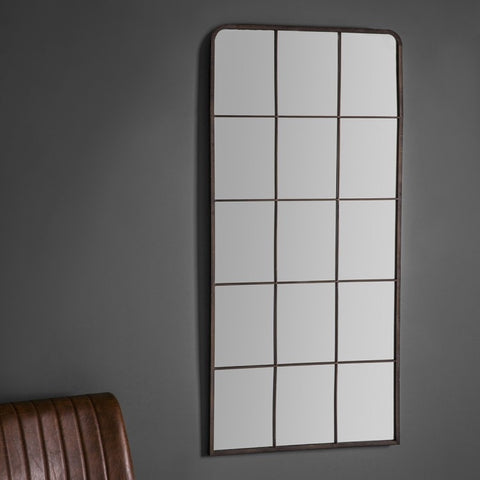 Large vertical Iron Window Mirror