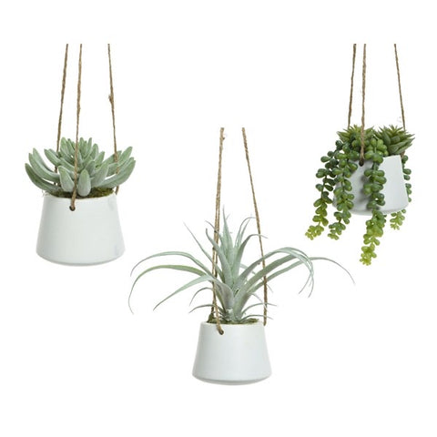 Hanging Artificial Plant in White Pot