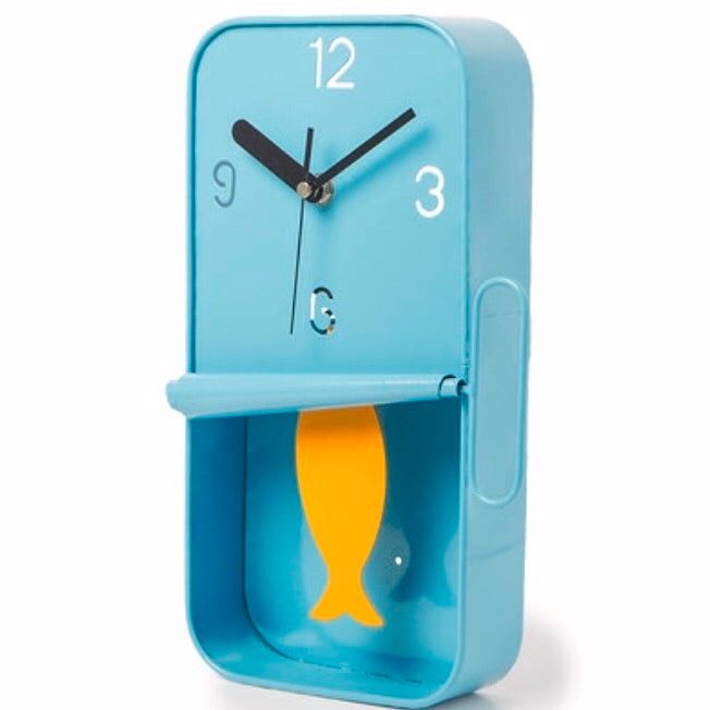 Blue Sardine Tin Wall Clock with Pendulum