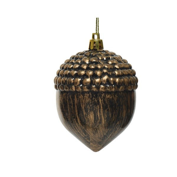 Set of 2 Antique Bronze Acorn Bauble
