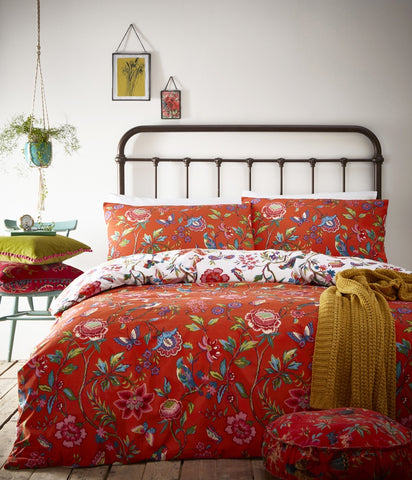 Orange Tropical Flower Print Cotton Bedding