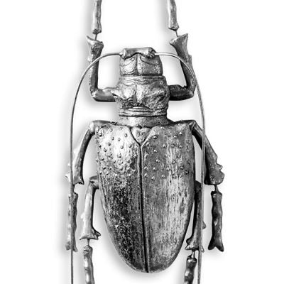 Large Silver Beetle with Antennas Wall Decor