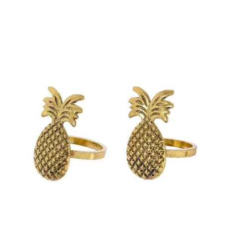 Pineapple Napkin Ring Holder Set of 2