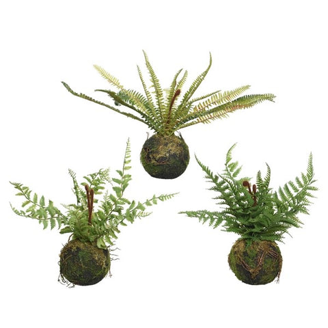 Small Artificial Moss Ball Fern Plant