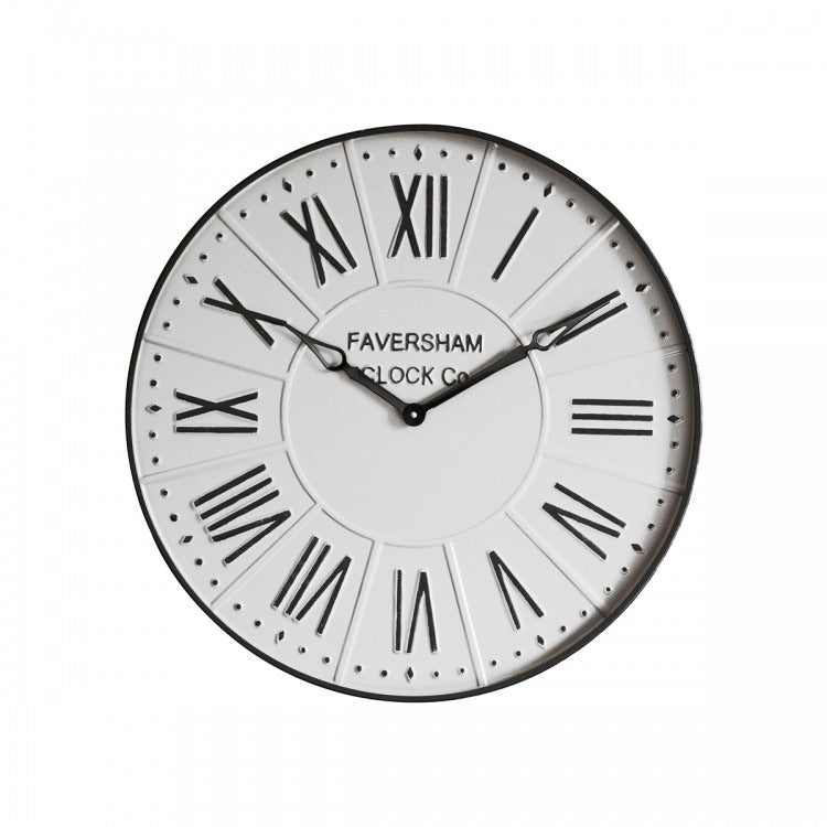 Large White Metal Wall Clock