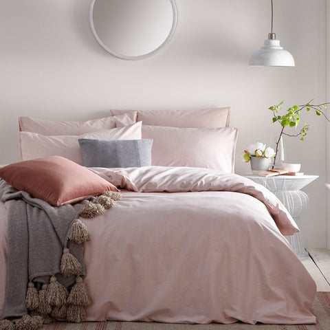 Blush Pink Linen Style Cotton Bedding. Claybourne