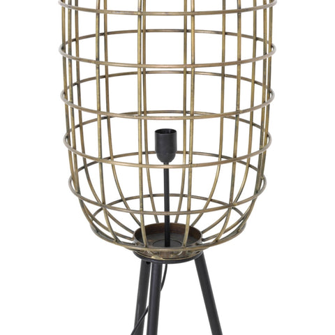 Tall Black & Brass Cage Floor Lamp