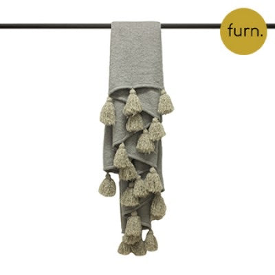 Grey and Natural Large Tassel Throw