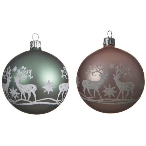8cm Glass Bauble with Reindeer Design