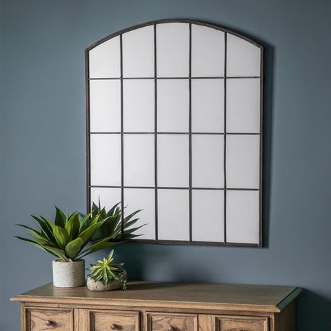 Industrial Metal Arch Window Mirror