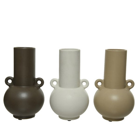 Tall Earthenware Vase with Rounded Handles