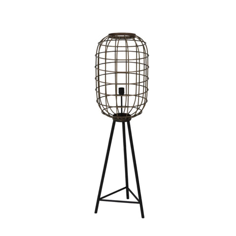 Short Black & Brass Cage Industrial Floor Lamp