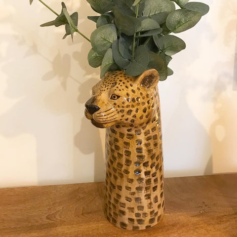 Ceramic Leopard Tall Flower Vase