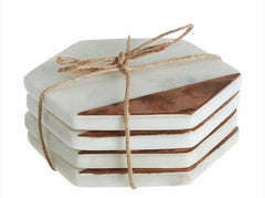 White Marble and Copper Hexagon Coasters Set of 4