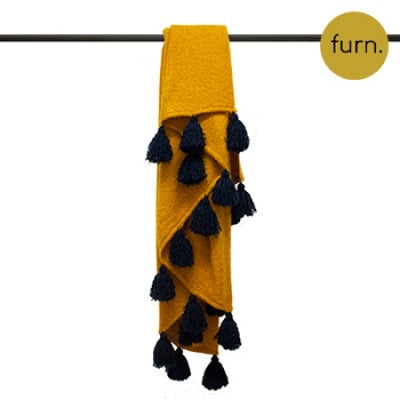Mustard and Navy Blue Large Tassel Throw
