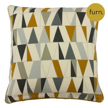 Mustard and Grey Geometric Cushion