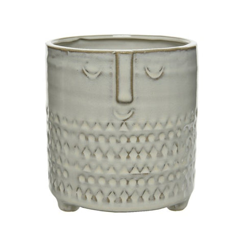 Handmade Stoneware Plant Pot with Face Design