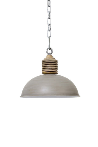 Taupe Metal Pendant with Mango Wood Top