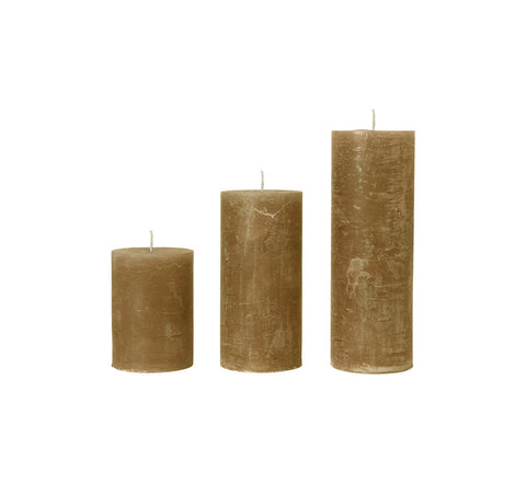 Amber Yellow Rustic Pillar Candle