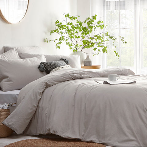 Light Grey Linen Style Cotton Bedding. Stonehouse
