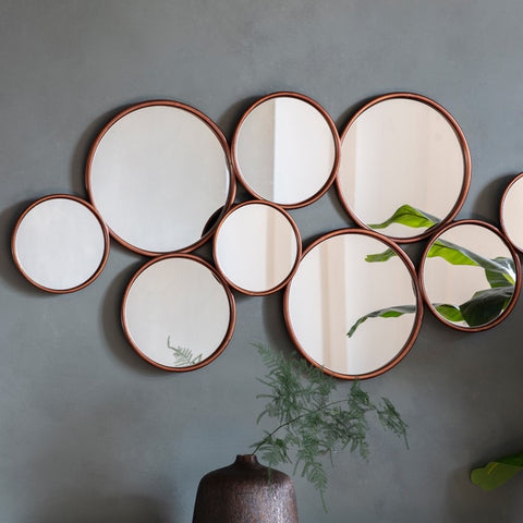 Copper Circles Wall Mirror