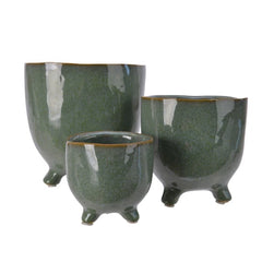Sage Green Stone Plant Pot on Feet