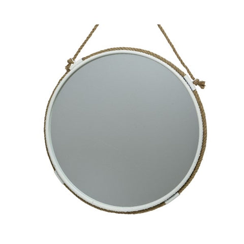 White Metal Round Mirror with Jute Rope Hanger