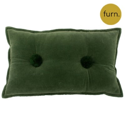 Sage Green Velvet Rectangle Cushion with Pompom