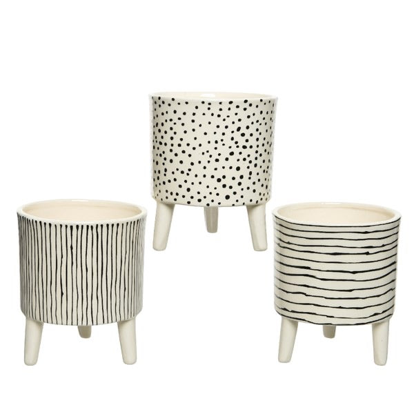 Lines & Dots Cream Plant Pot on Feet