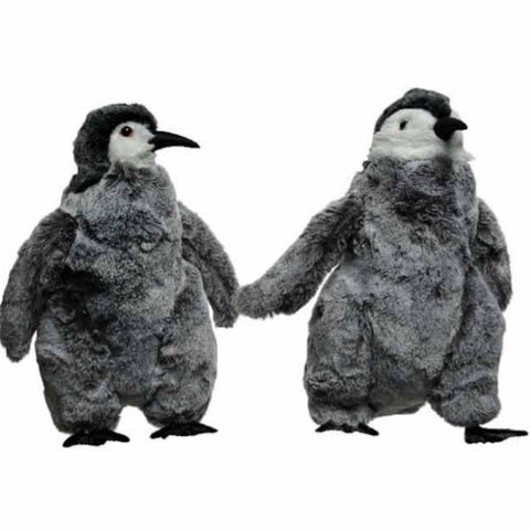 Grey Plush Fluffy Baby Penguin