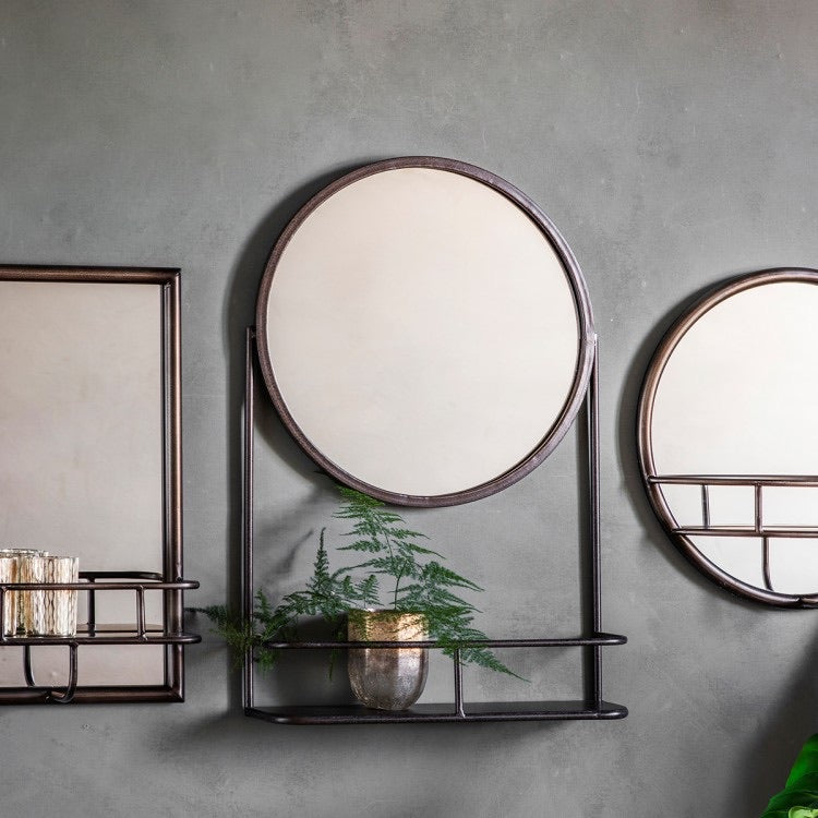Industrial Metal Round Mirror with Shelf