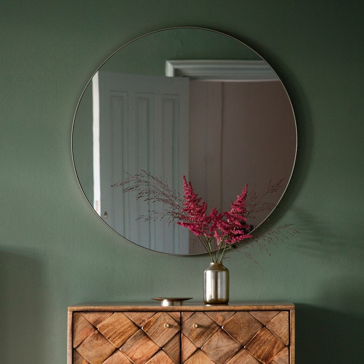 Round Wall Mirror with Silver Edge